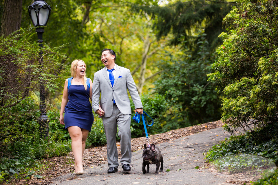 New York City Engagement Photos in Central Park Bethesda Terrace French Bulldog Puppy