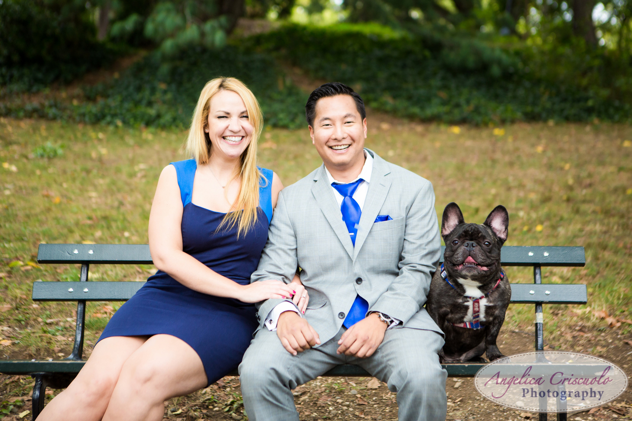 New York City Engagement Photos in Central Park Bethesda Terrace Fountain French Bulldog