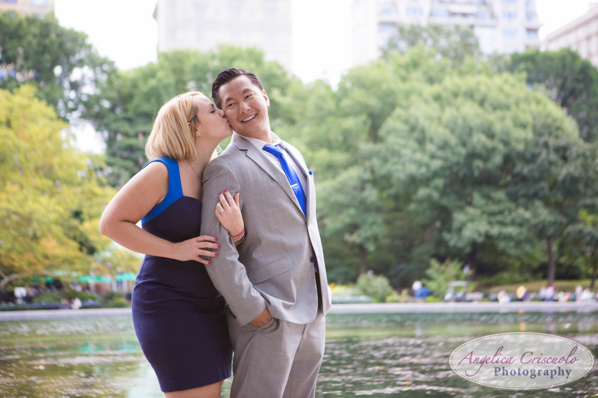 New York City Engagement Photos in Central Park Bethesda Boathouse