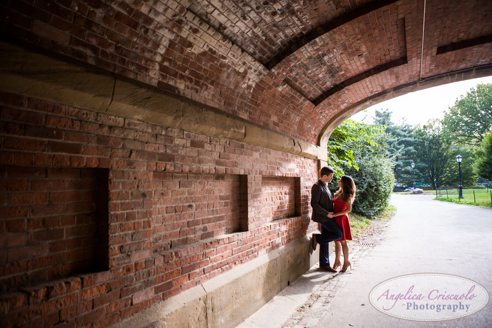 New York Central Park Engagement photo ideas tunnel red dress