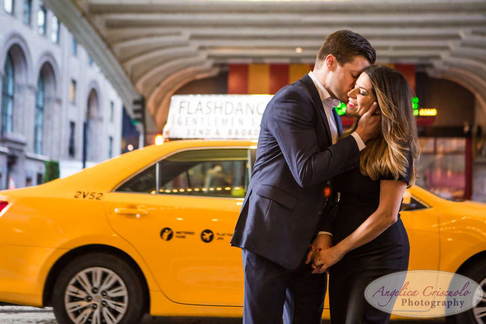 NYC Engagement Photos with Yellow Taxi Cabs