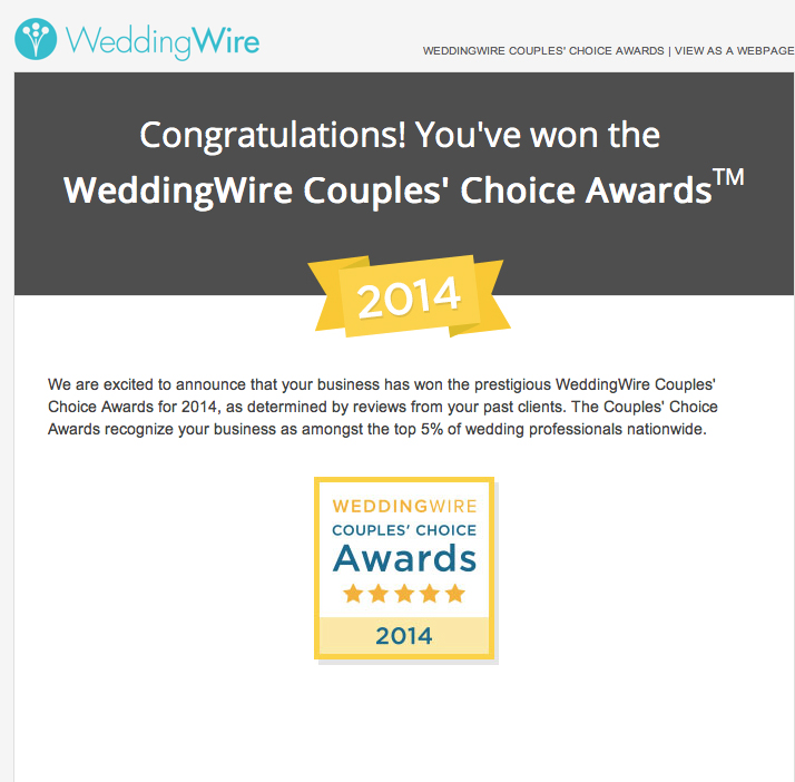 WeddingWire Couples' Choice Awards 2014 Best New York Wedding Photographer