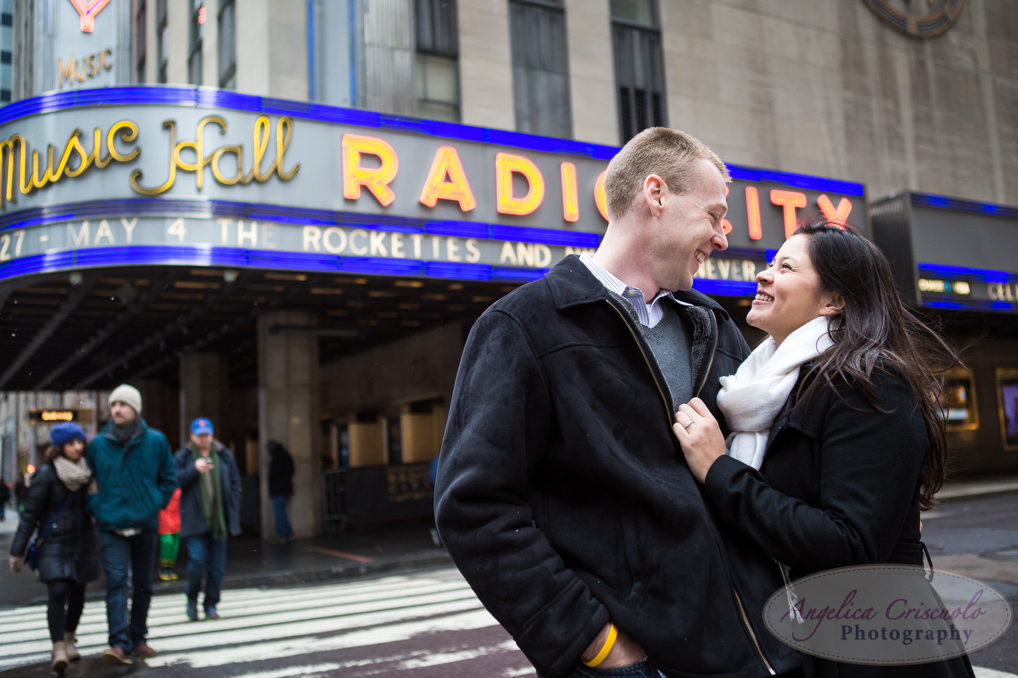 Engagement photos at the Radio City Music Hall photos