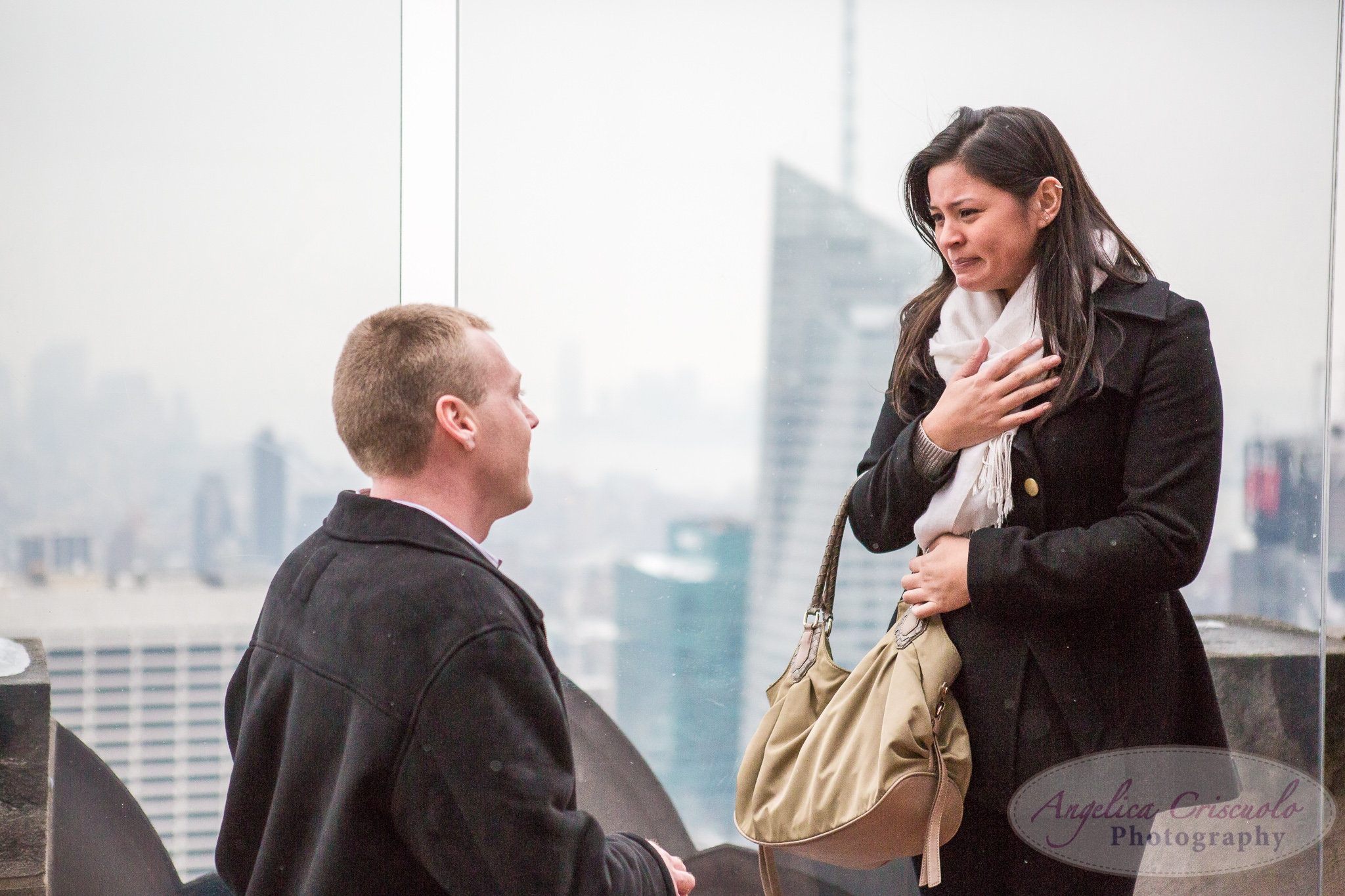 New York City Surprise Proposal Top of The Rock Rockefeller Center Empire State Building view