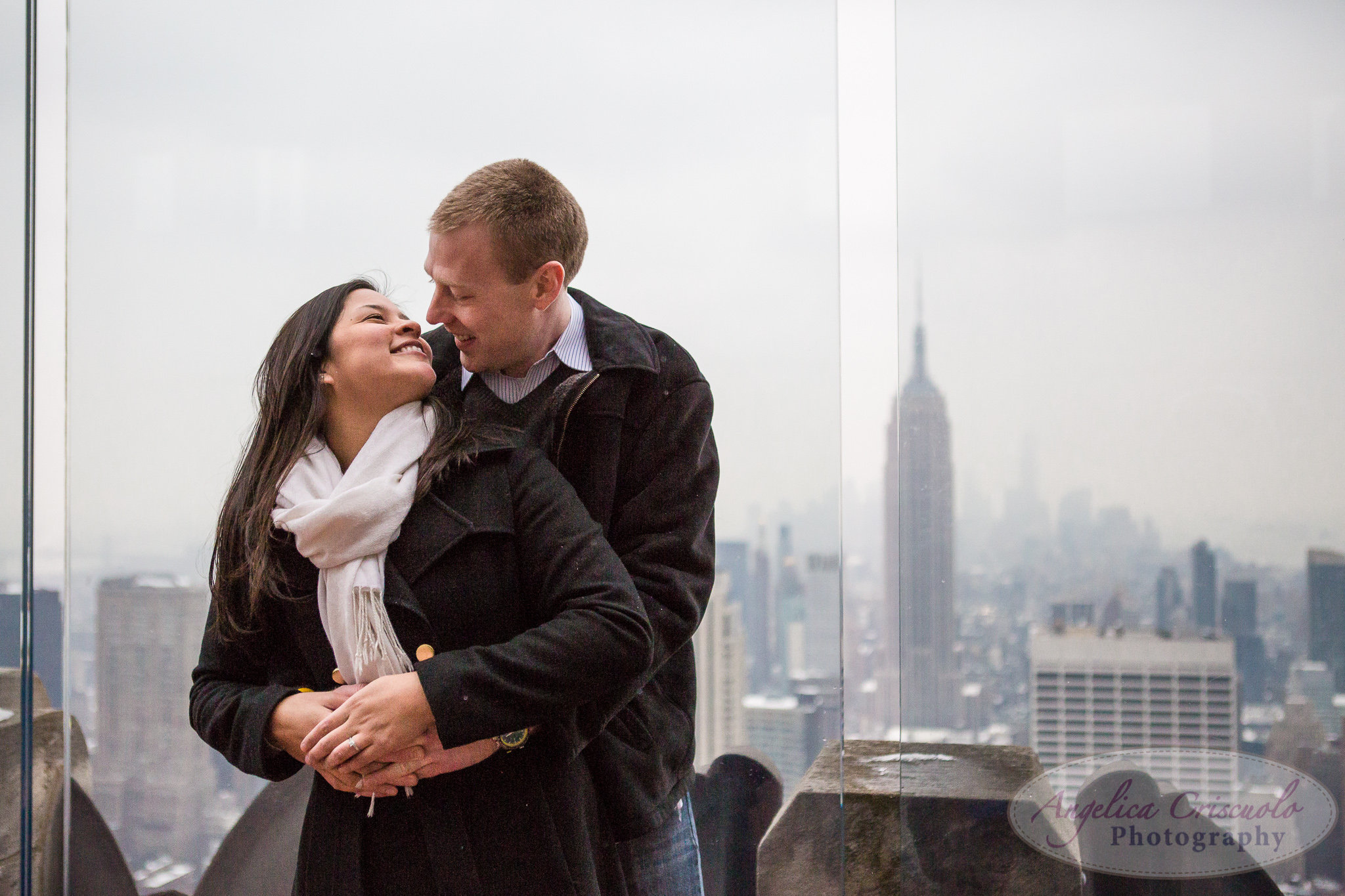 Engagement photos at the Top of the Rock Rockefeller Center
