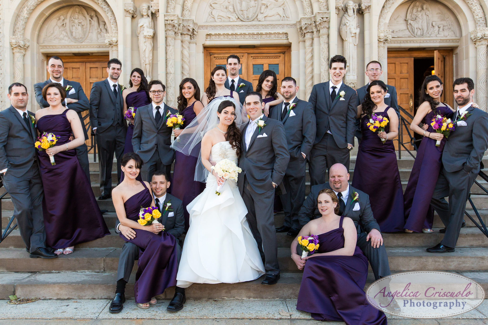 New York Wedding Photographer Bronx Purple St. Benedict's Church