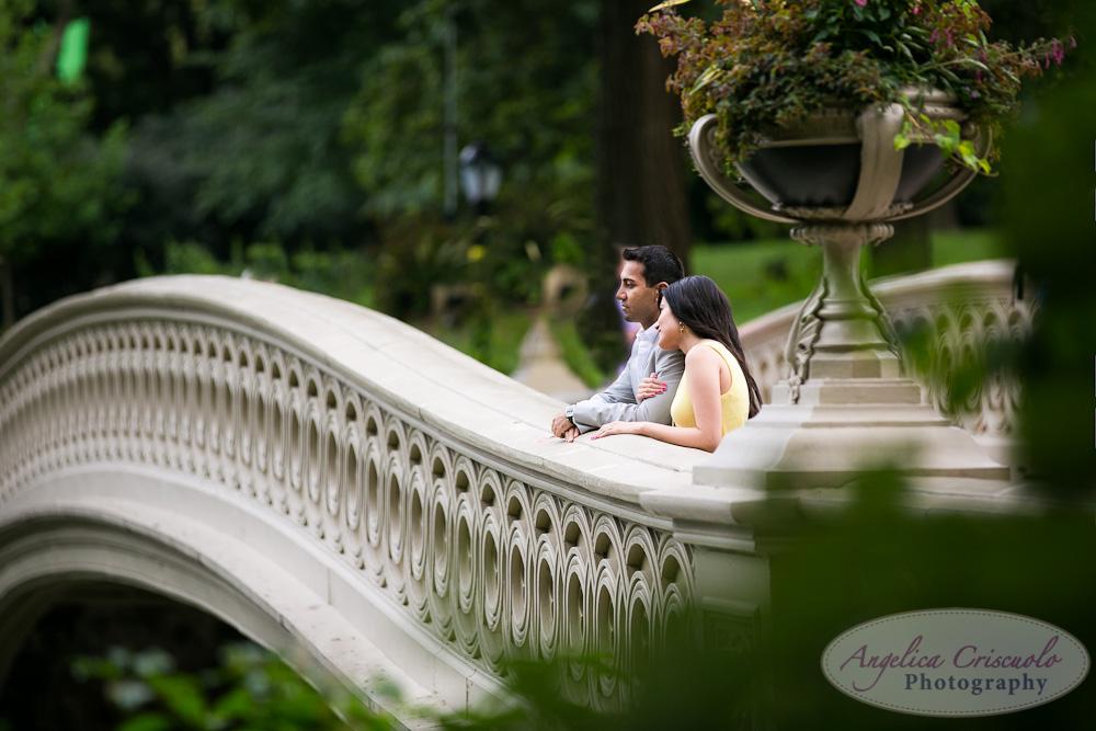 Central Park Engagement Photo Bubbles ideas Indian engagement Bow Bridge