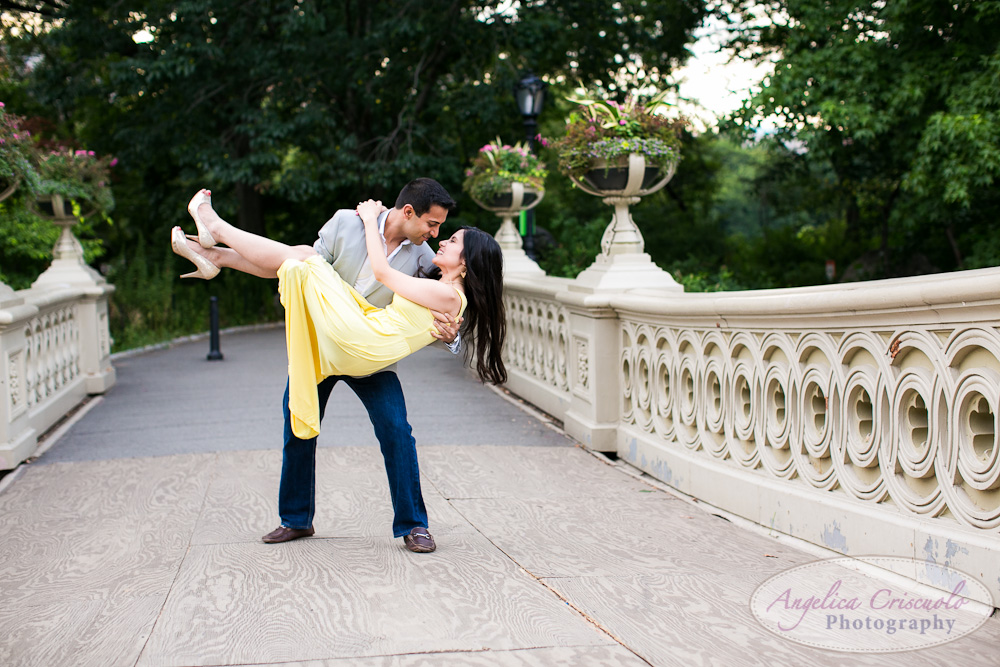 Central Park Engagement Photo Bubbles ideas Indian engagement Bow Bridge