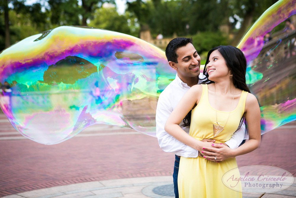 Central Park Engagement Photo Bubbles ideas Indian engagement