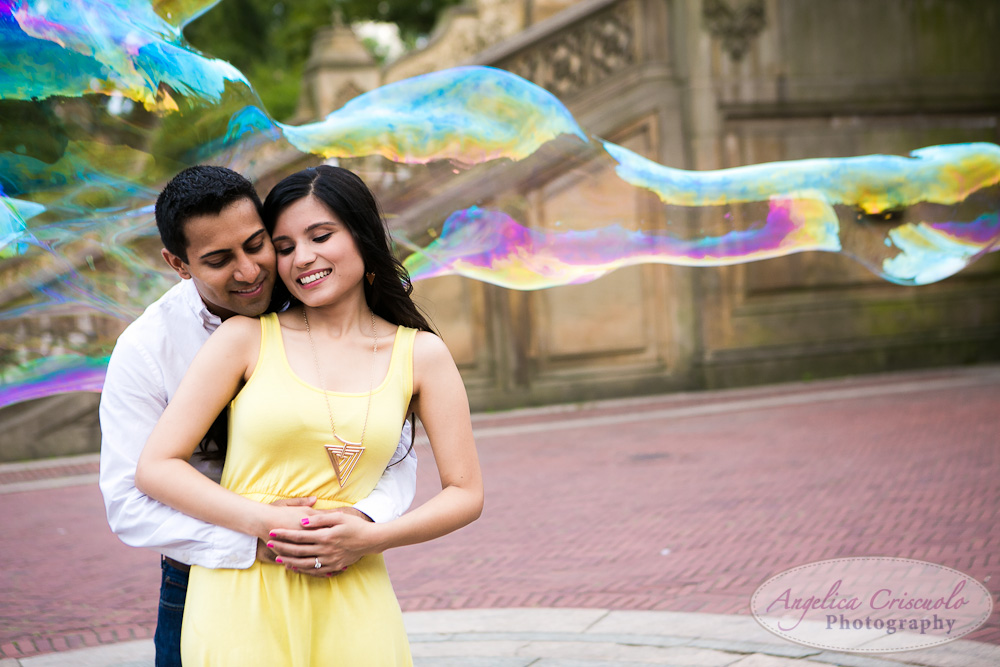 Central Park Engagement Photos Bubbles ideas