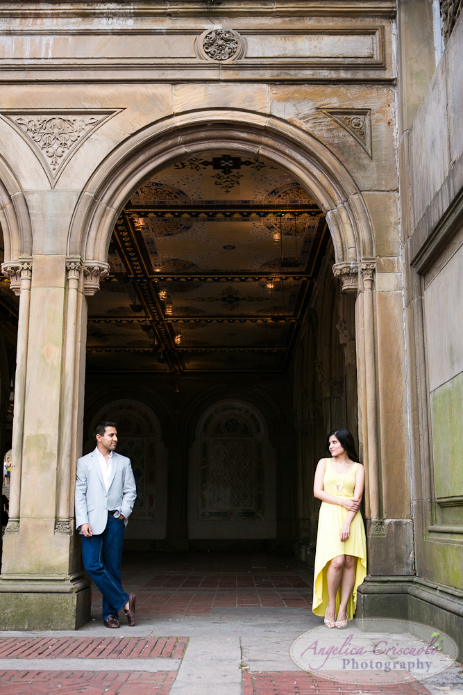 Bethesda Terrace Engagement Photo Ideas in Central Park NY