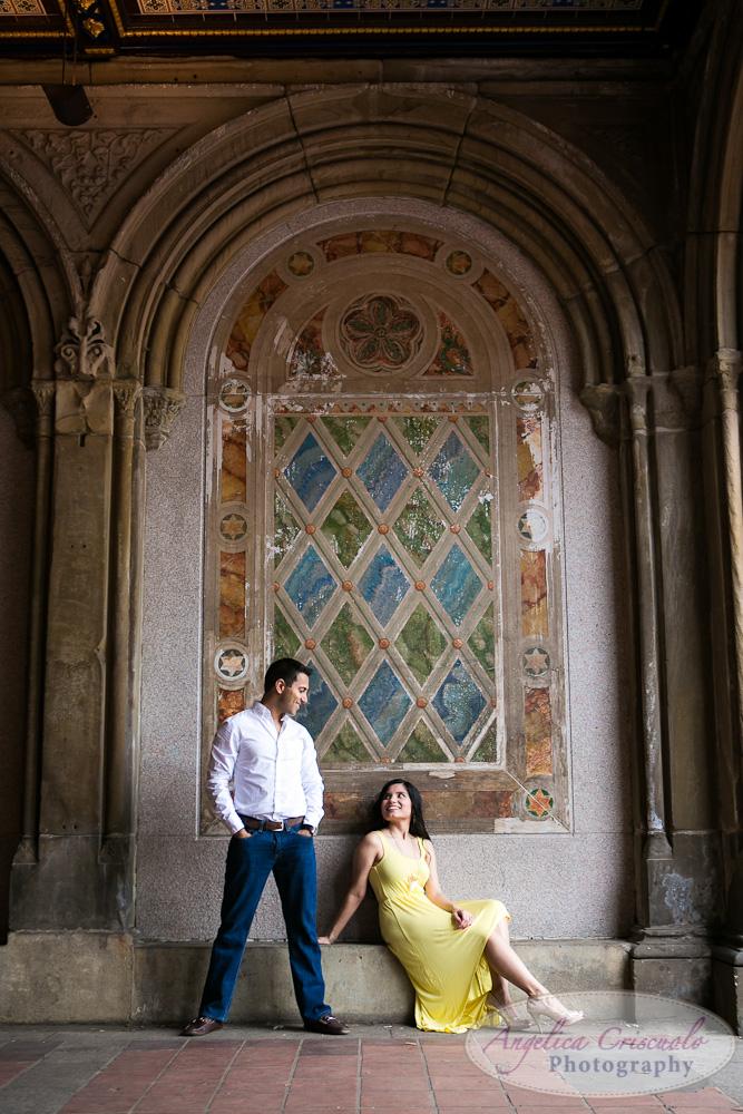 Central Park Engagement Photo Bubbles ideas Indian engagement  Bethesda Terrace Fountain