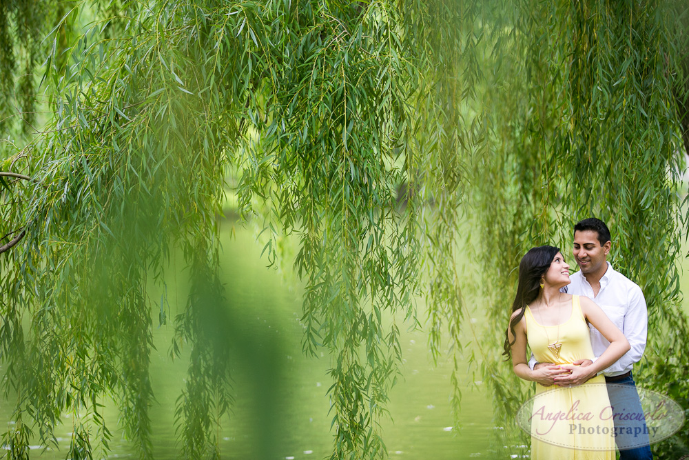 Central Park Engagement Photo Bubbles ideas Indian engagement Willow Trees