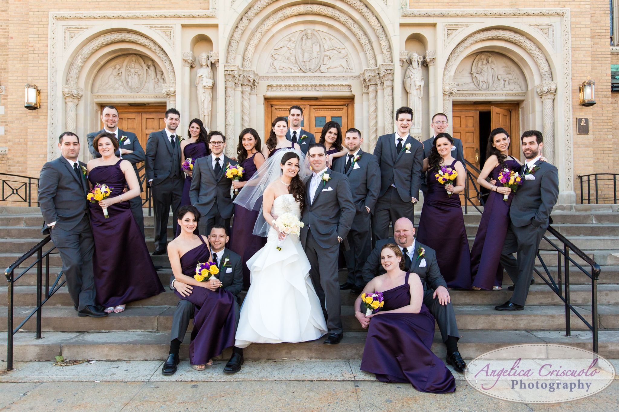 New York Wedding Photographer Marina Del Rey Purple Bridal Party Ideas St Benedict's Church