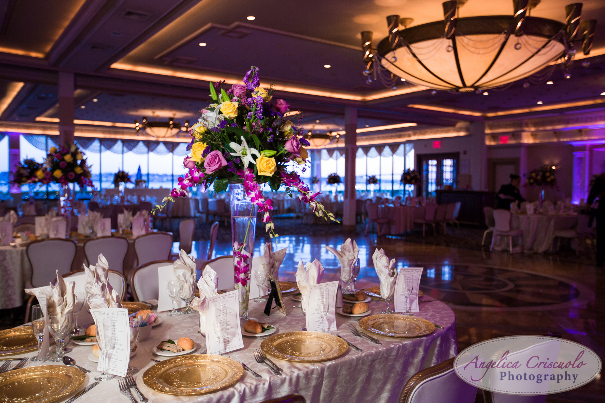 New York Wedding Photographer reception at Marina Del Rey ideas purple flowers