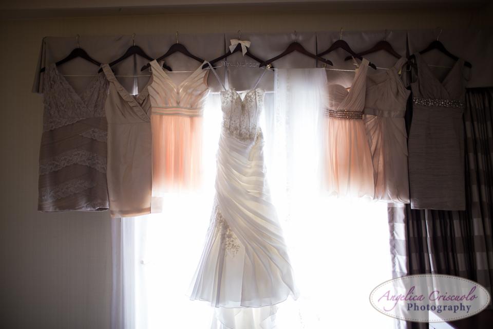 Bridal wedding dress Peach bridesmaid dresses