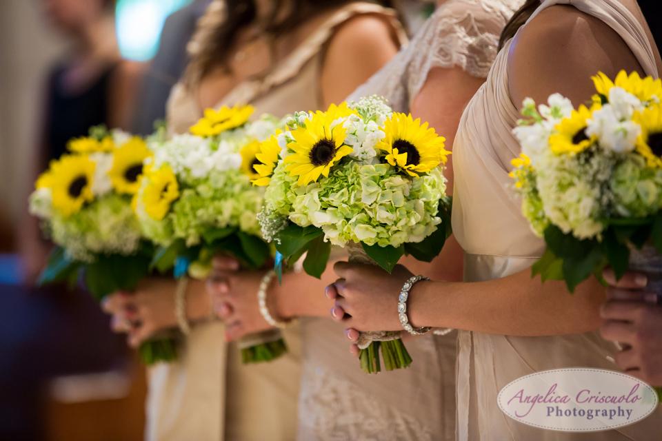 sunflower hyacinth wedding bouquet