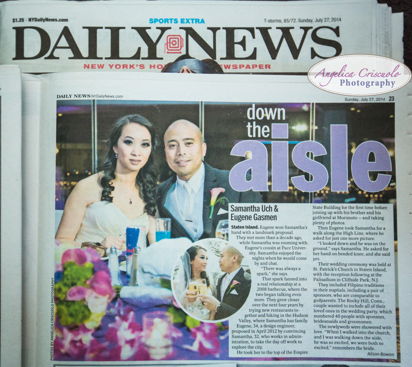 Palisadium NJ Wedding PHotos and New York Daily News Down The Aisle