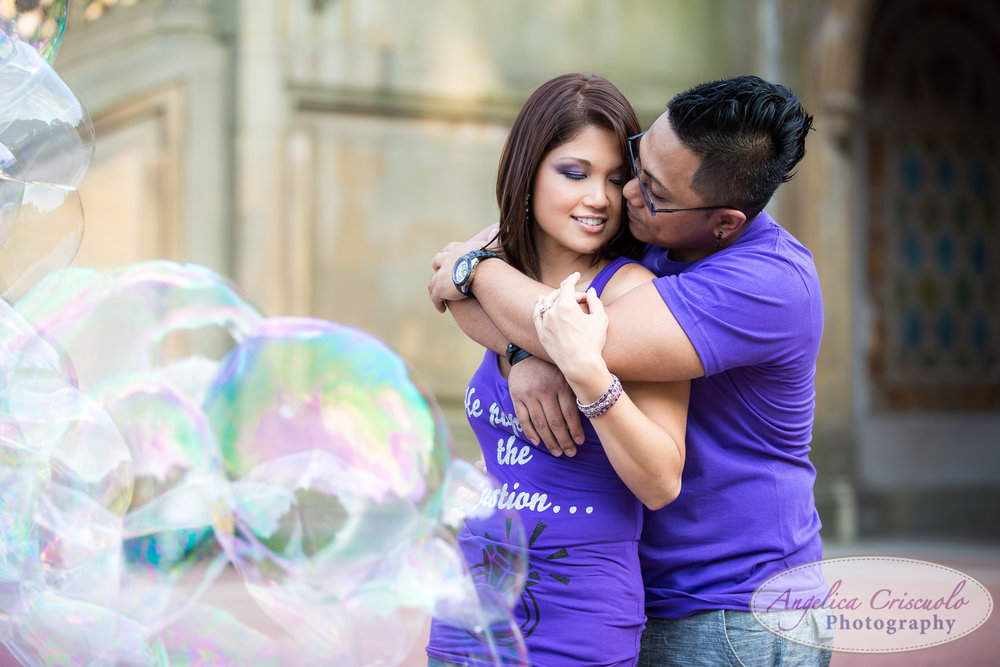 Central Park NY Engagement Photos with Bubble Guy