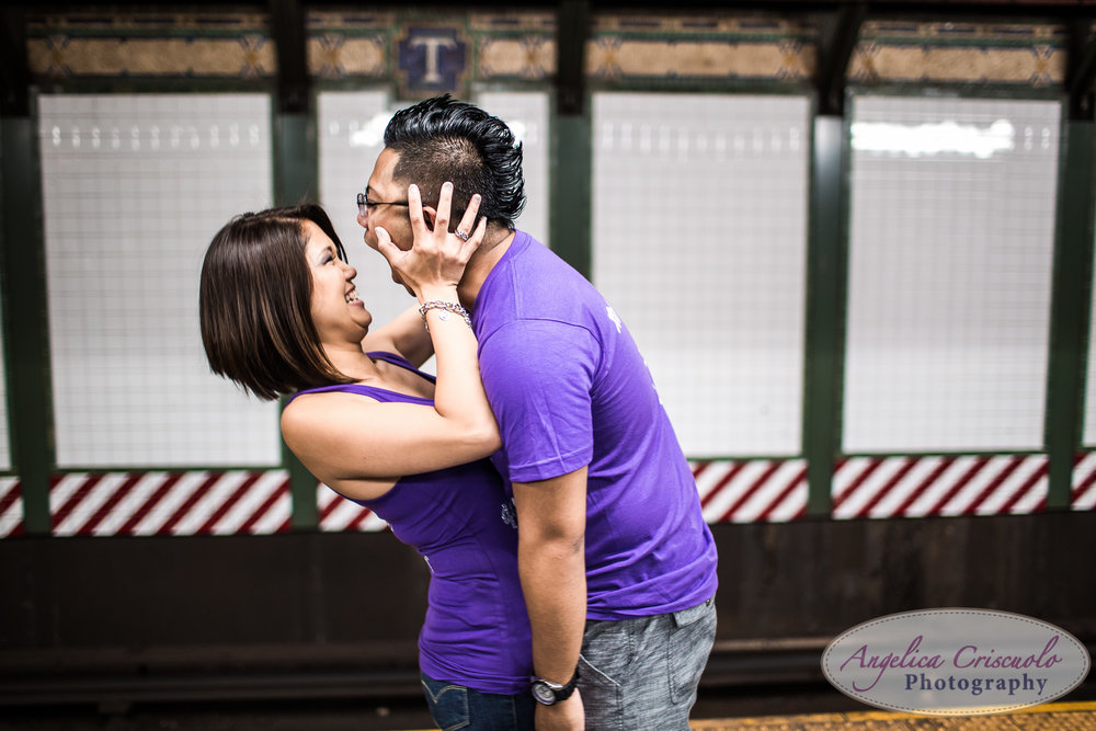 New York City engagement subway photo idea