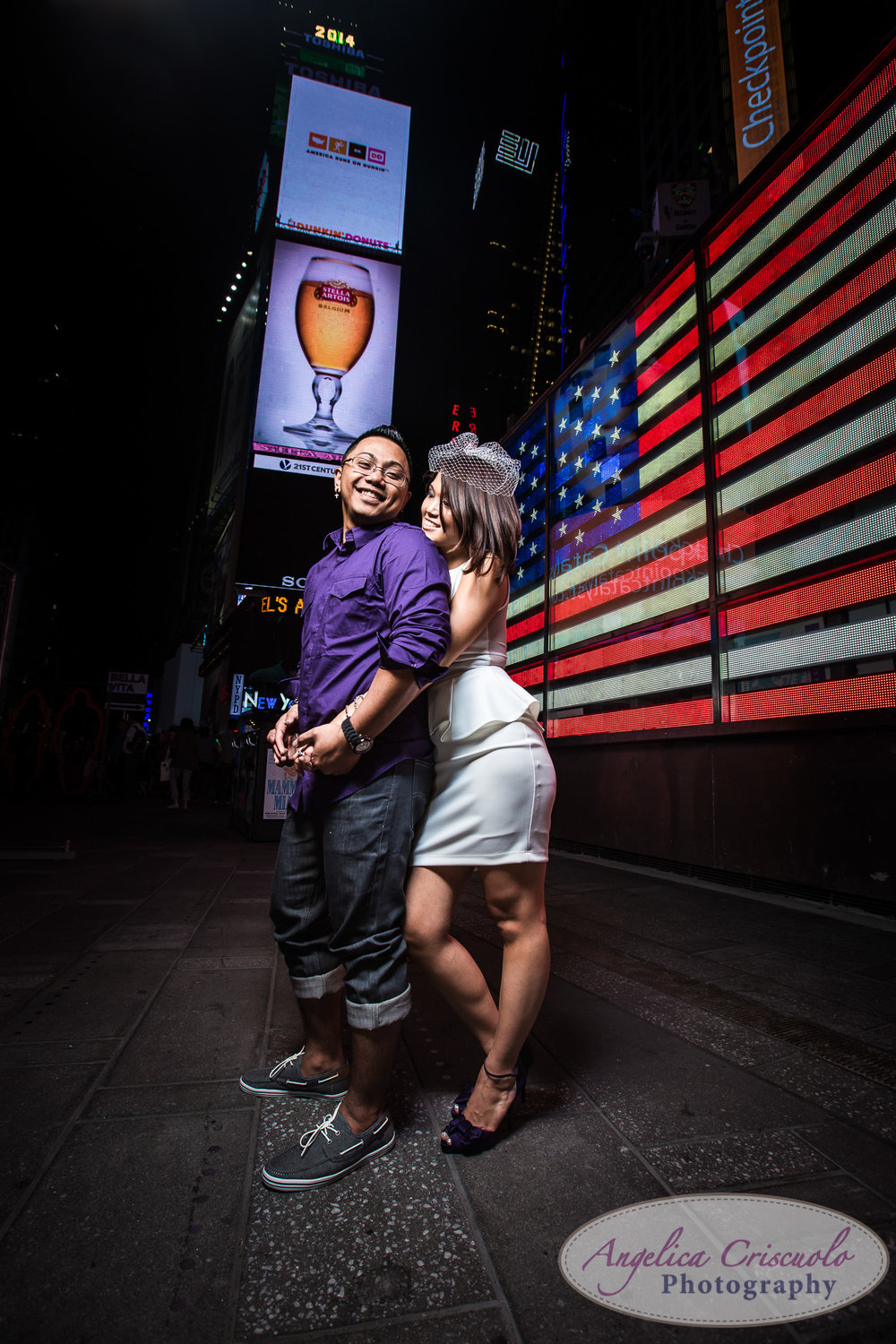 Time Square New York engagement photography ideas American Flag icon