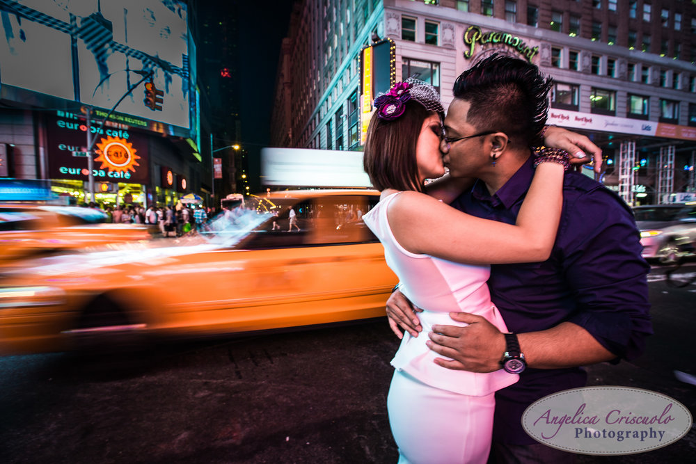 Time Square New York engagement photography ideas yellow taxi cab