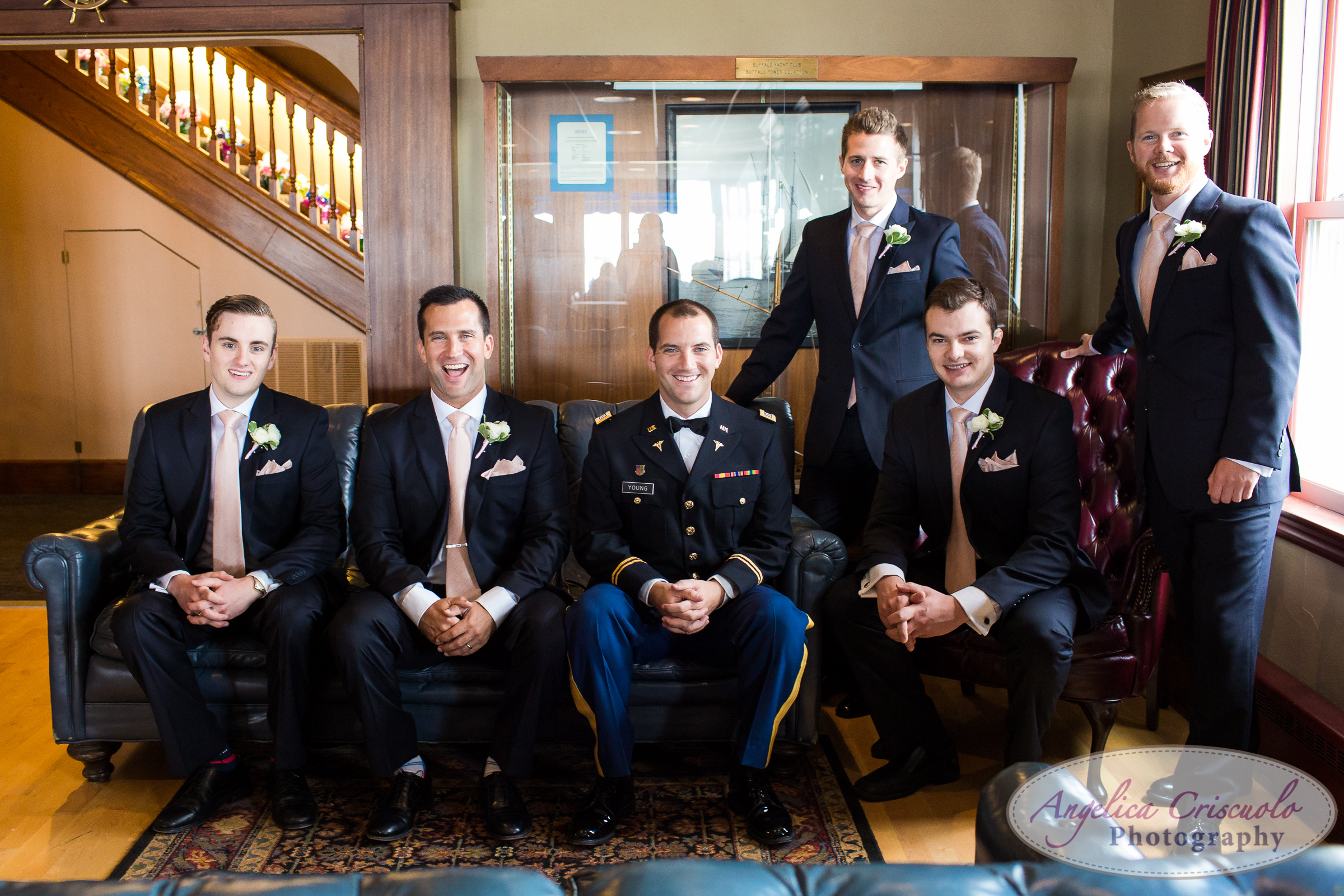 Groomsmen wedding photos in Buffalo Yacht Club