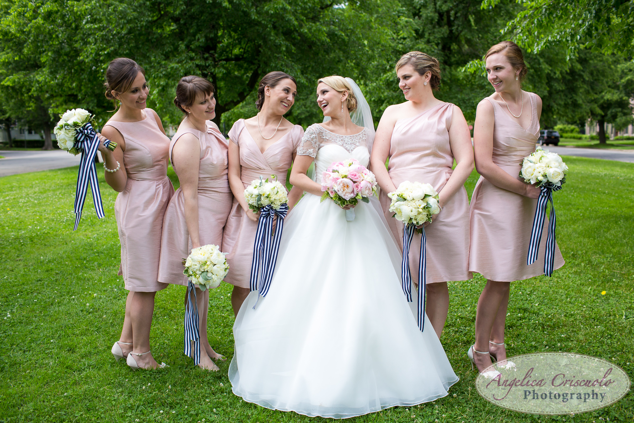 Buffalo NY bridesmaid portrait peach dresses pink