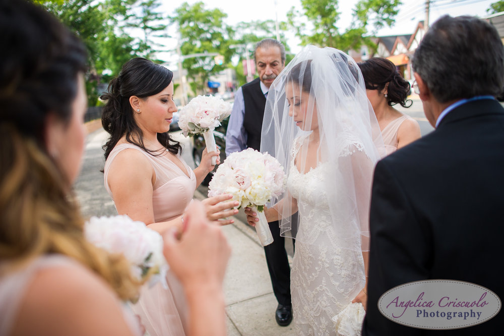 St Aloysius Church Great Neck New York Weddings Bride arrives