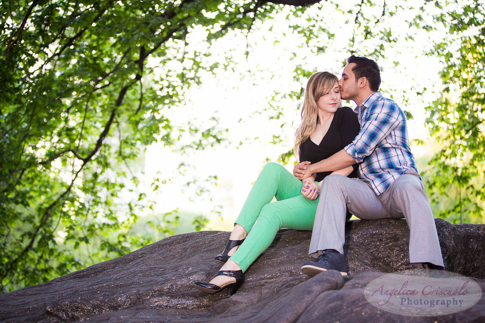 New York Engagement Photography Central Park Central Park Rock