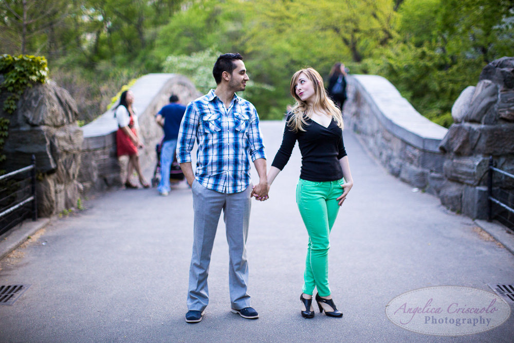 New York Engagement Photography Central Park Gapstow Bridge