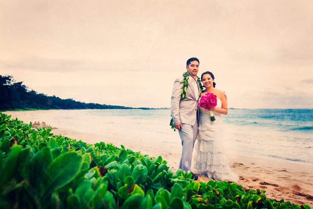 Oahu Hawaii Destination Wedding Photos beach portraits bride and groom