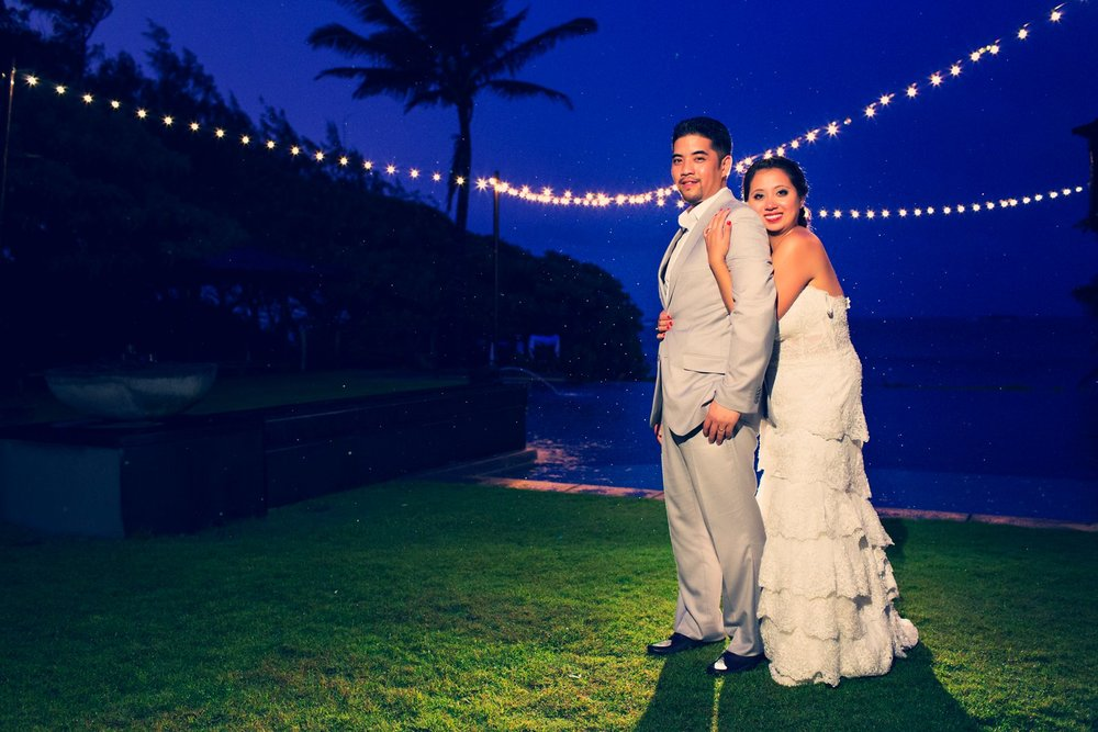 Oahu Hawaii Destination Wedding Photos sunset blue skies portrait ideas