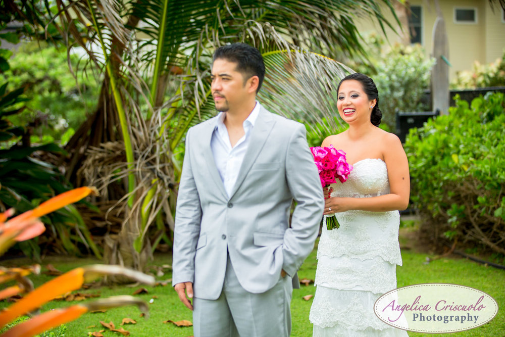 Oahu Hawaii Destination Wedding Photos First Look