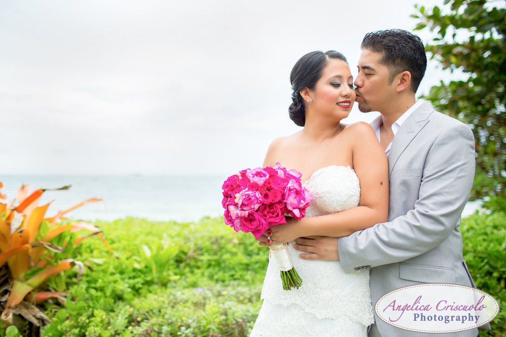 Oahu Hawaii Destination Wedding Photos bride and groom beach