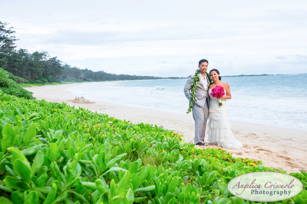Oahu Hawaii Destination Wedding Photos beach turtle bay sunset