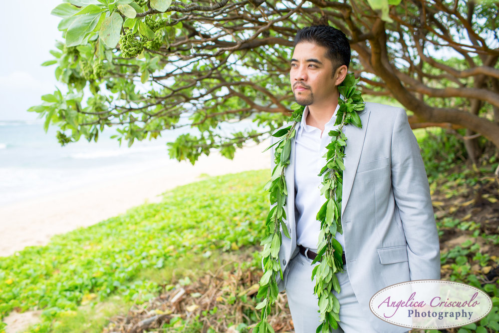 Oahu Hawaii Destination Wedding Photos groom portrait