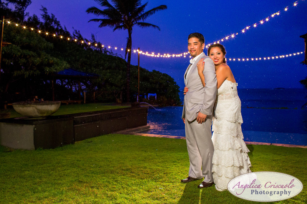 Oahu Hawaii Destination Wedding Photos sunset photo blue sky