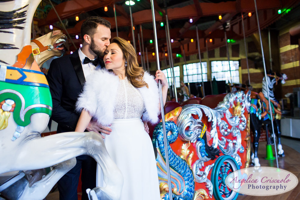 carousel Central Park New York engagement couple wedding photos formal