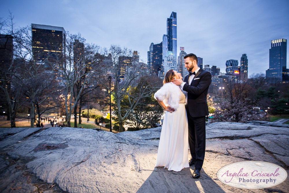 Central Park New York engagement couple wedding photos formal skyline dusk