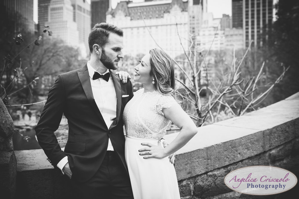 Central Park New York engagement couple wedding photos formal black and white gapstow