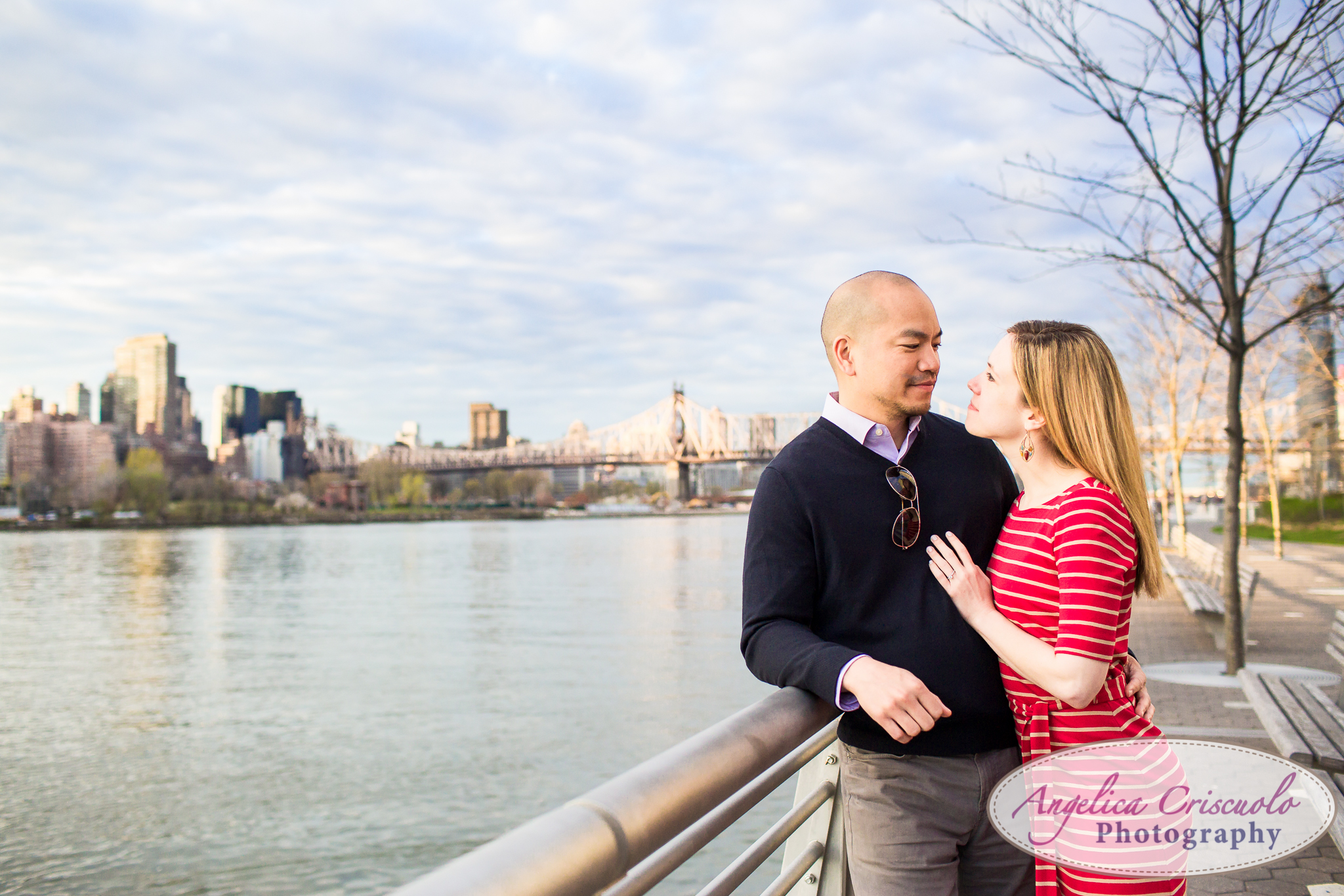Queens Long Island City New York Engagement Photos in Gantry State Park East River