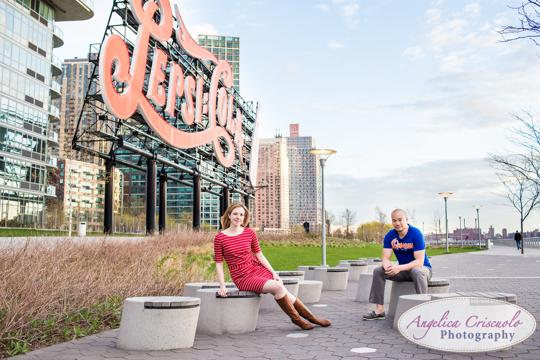 Queens Long Island City New York Engagement Photos in Gantry State Park Editorial