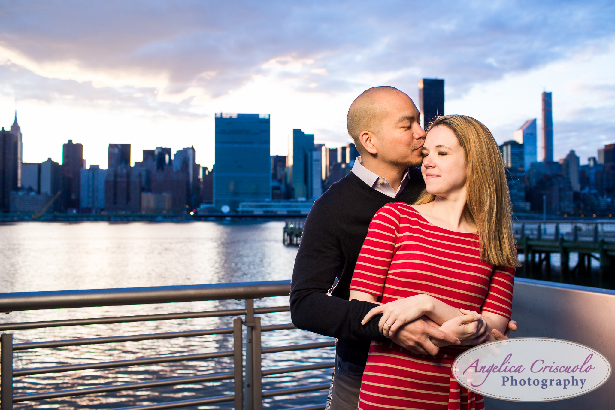 Queens Long Island City New York Engagement Photos in Gantry State Park Sunset Kiss