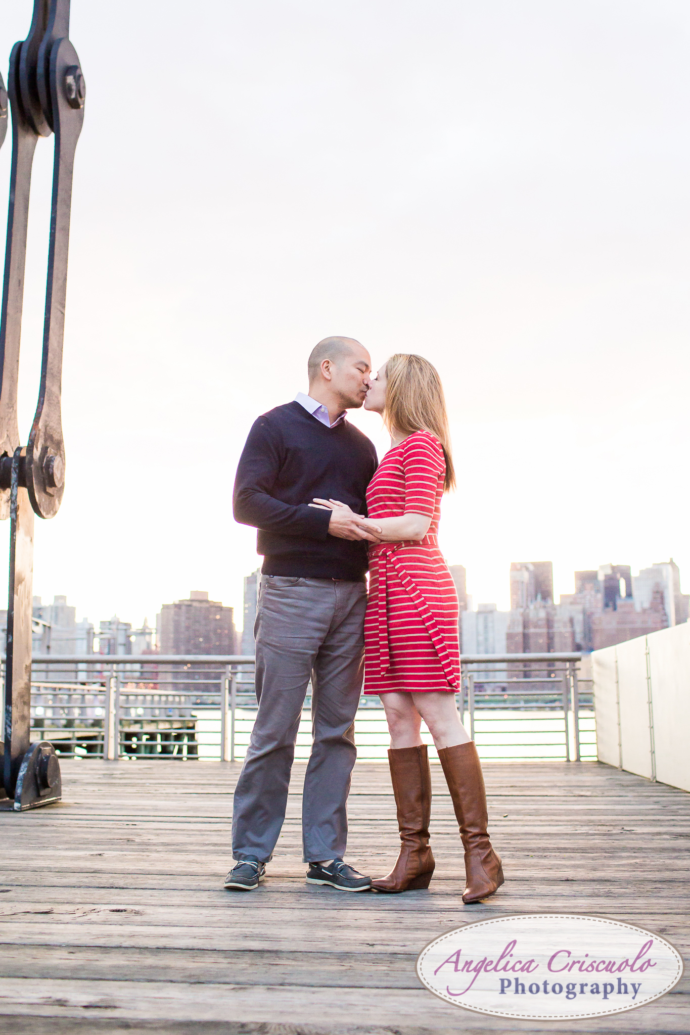 Boardwalk Queens Long Island City New York Engagement Photos in Gantry State Park Sunset