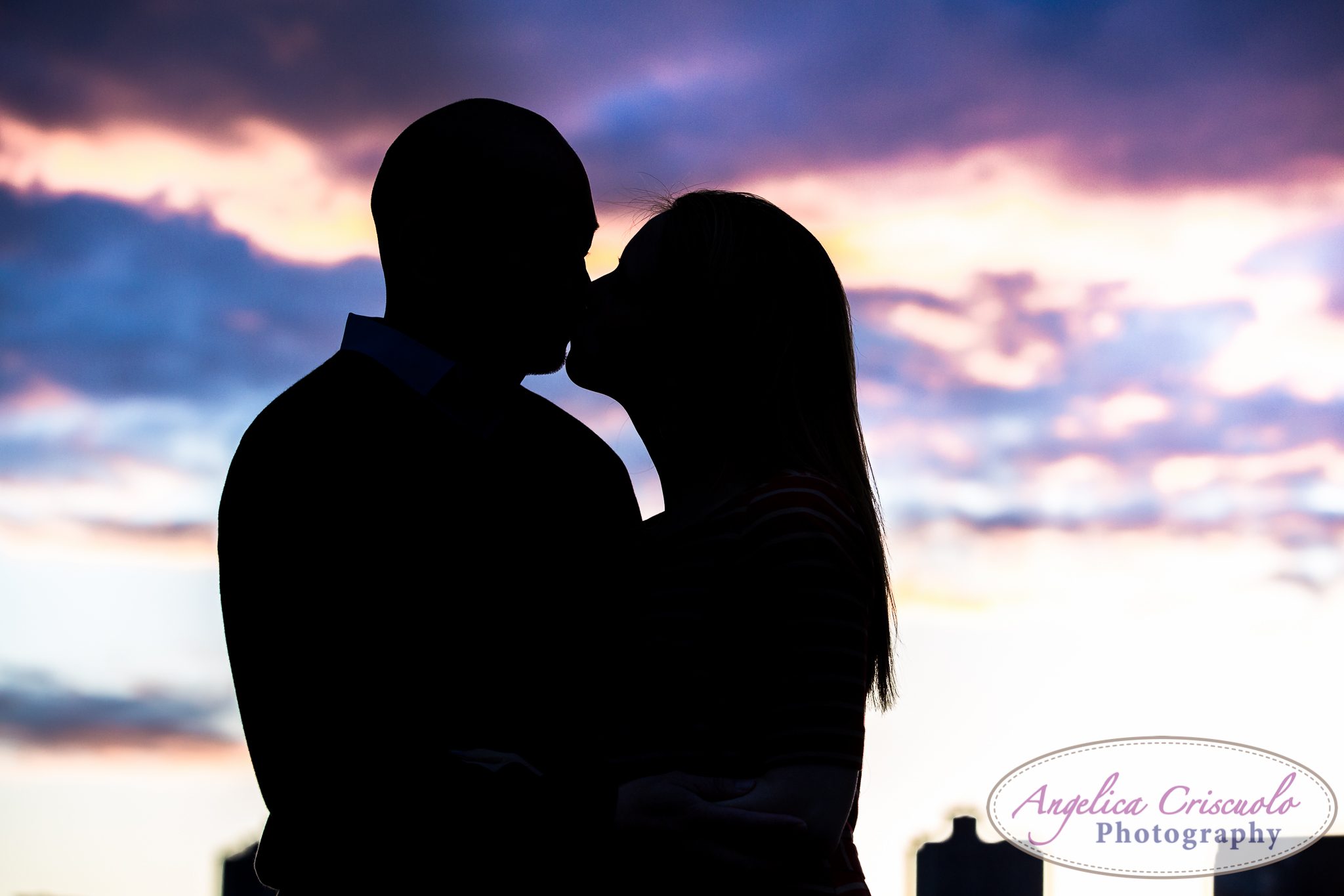 Queens Long Island City New York Engagement Photos in Gantry State Park Sunset Silhouette