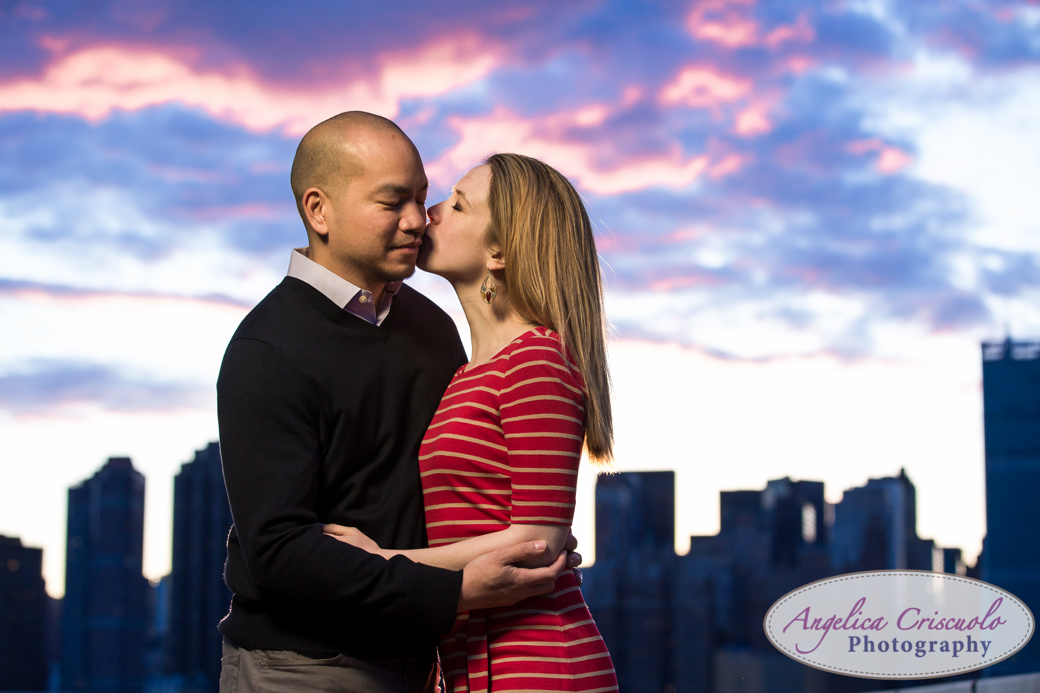Queens Long Island City New York Engagement Photos in Gantry State Park Sunset skyline blue purple sky