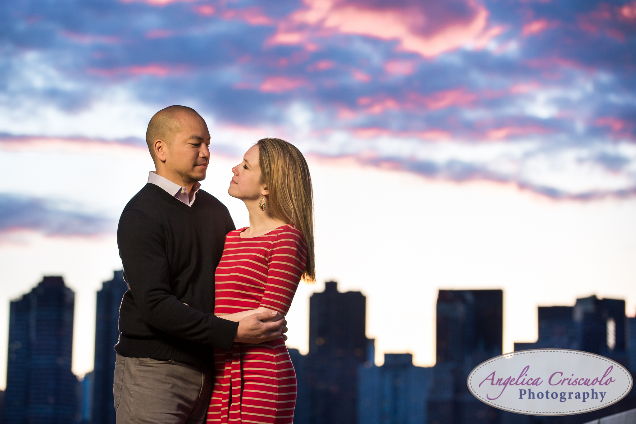 Queens Long Island City New York Engagement Photos in Gantry State Park Sunset Skyline