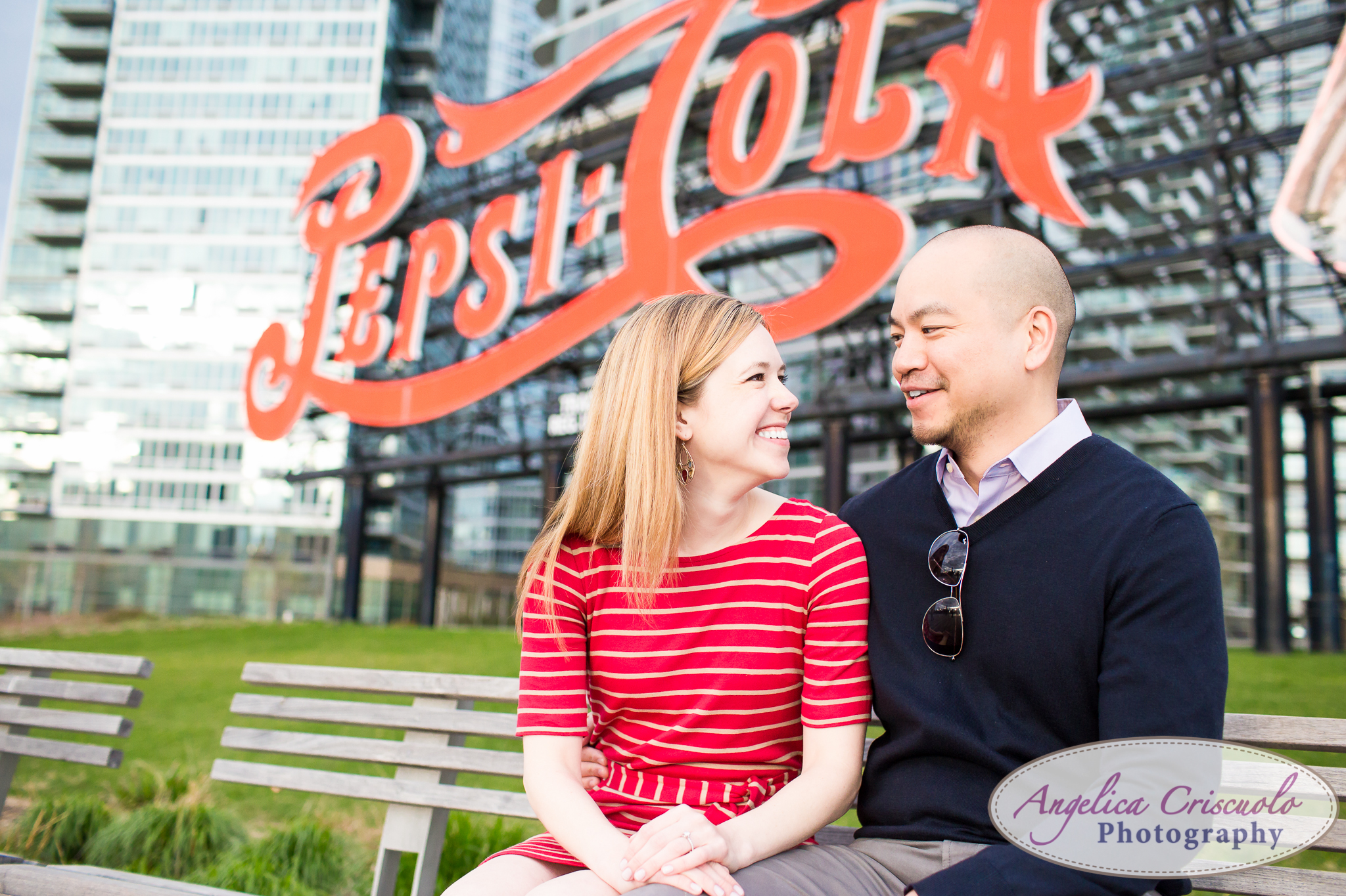 Queens Long Island City New York Engagement Photos in Gantry State Pepsi Sign