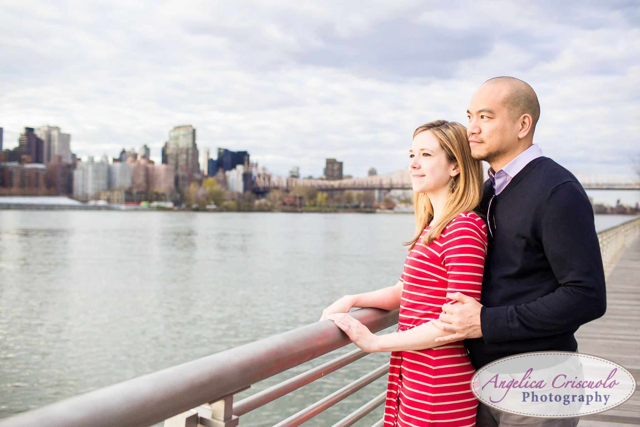 Queens Long Island City New York Engagement Photos in Gantry State East River Queens Borough Bridge